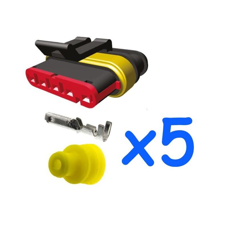 Kit Connecteur Mâle 5 Broches Avec 5 Contacts Femelle Amp Superseal 15