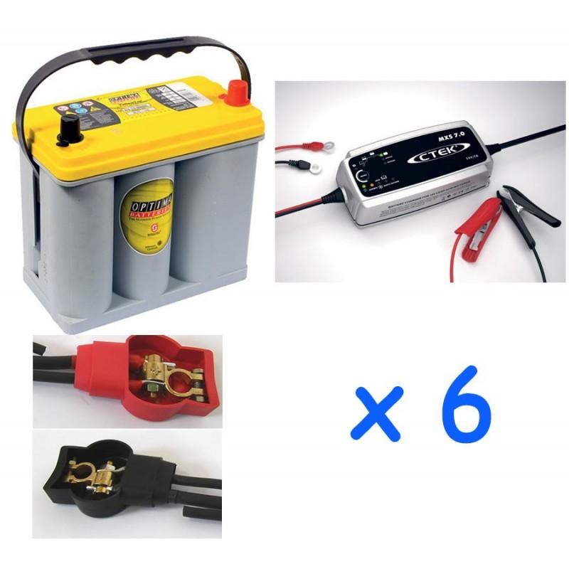 Lot De 6 Batteries Optima 38ah Et 6 Chargeurs Ctek 7a Avec Cosses